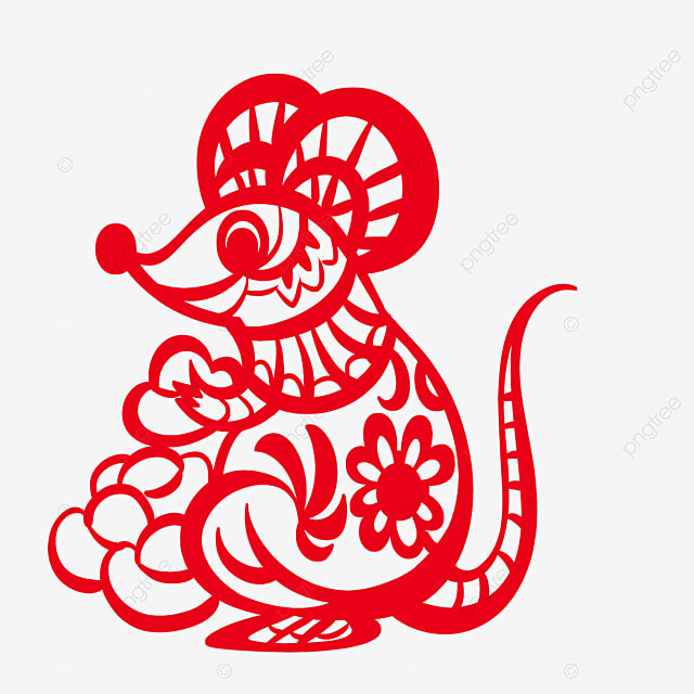 year of the rat paper cutting style element mouse holding gold