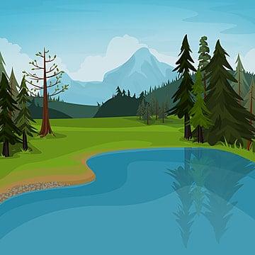 озеро и горы сцена, пейзажный клипарт, Пейзаж, лес PNG и PSD