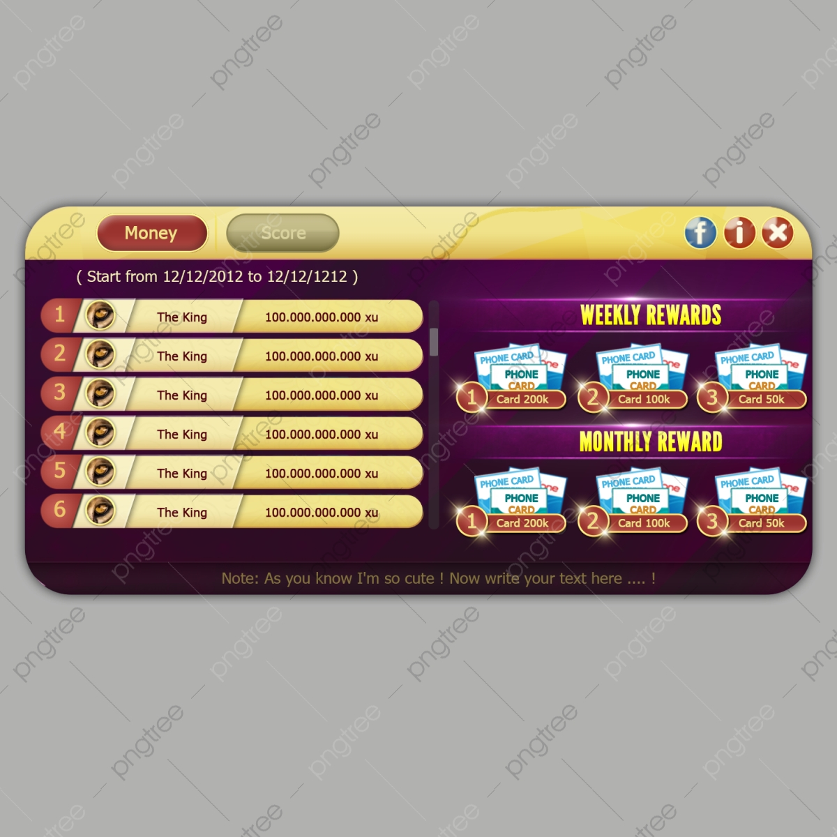 A Leader Board Game Popup With Rewards For Casino Or Casual Or