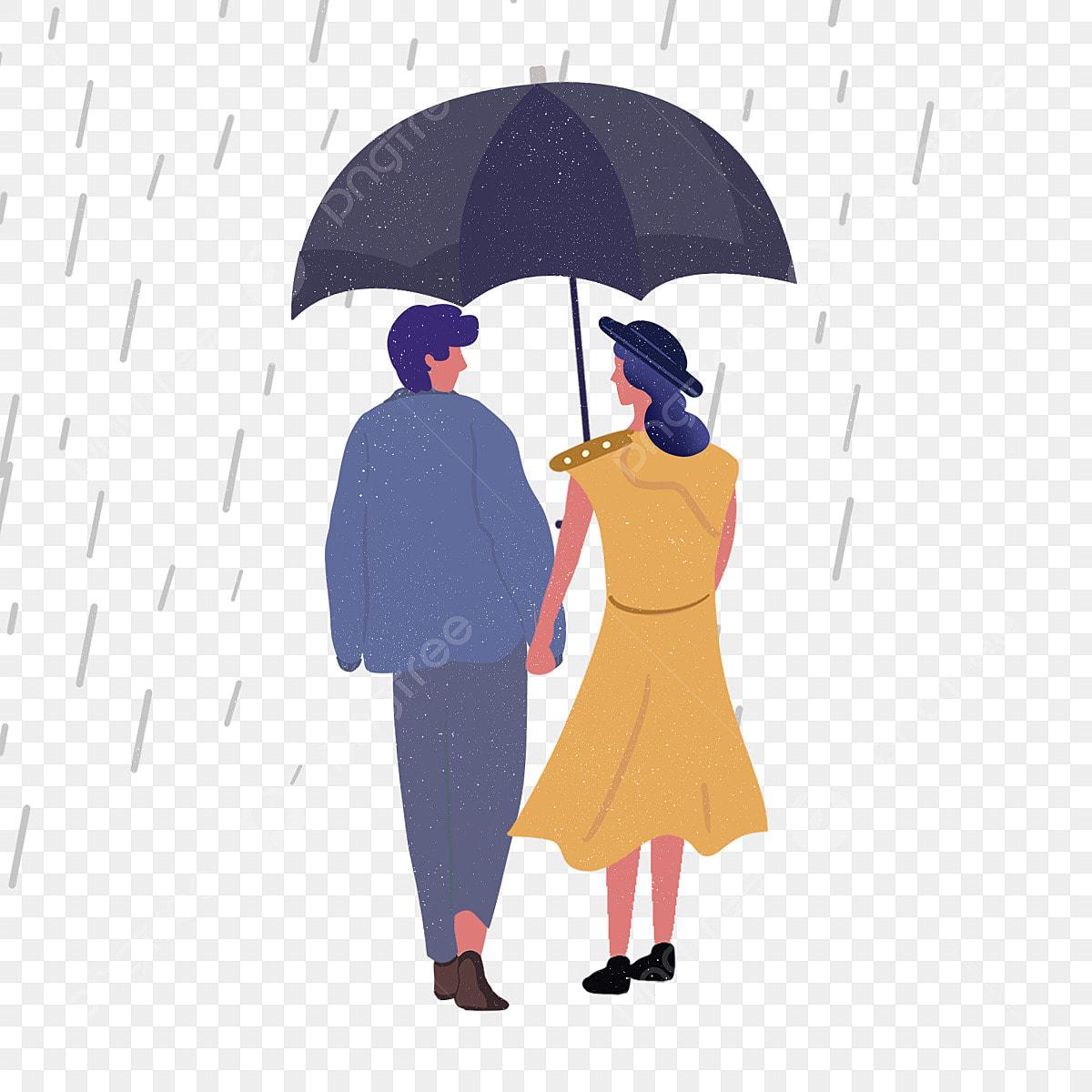 背面図カップル再生傘イラスト 夫婦 シルエット 雨画像とpsd素材ファイルの無料ダウンロード Pngtree