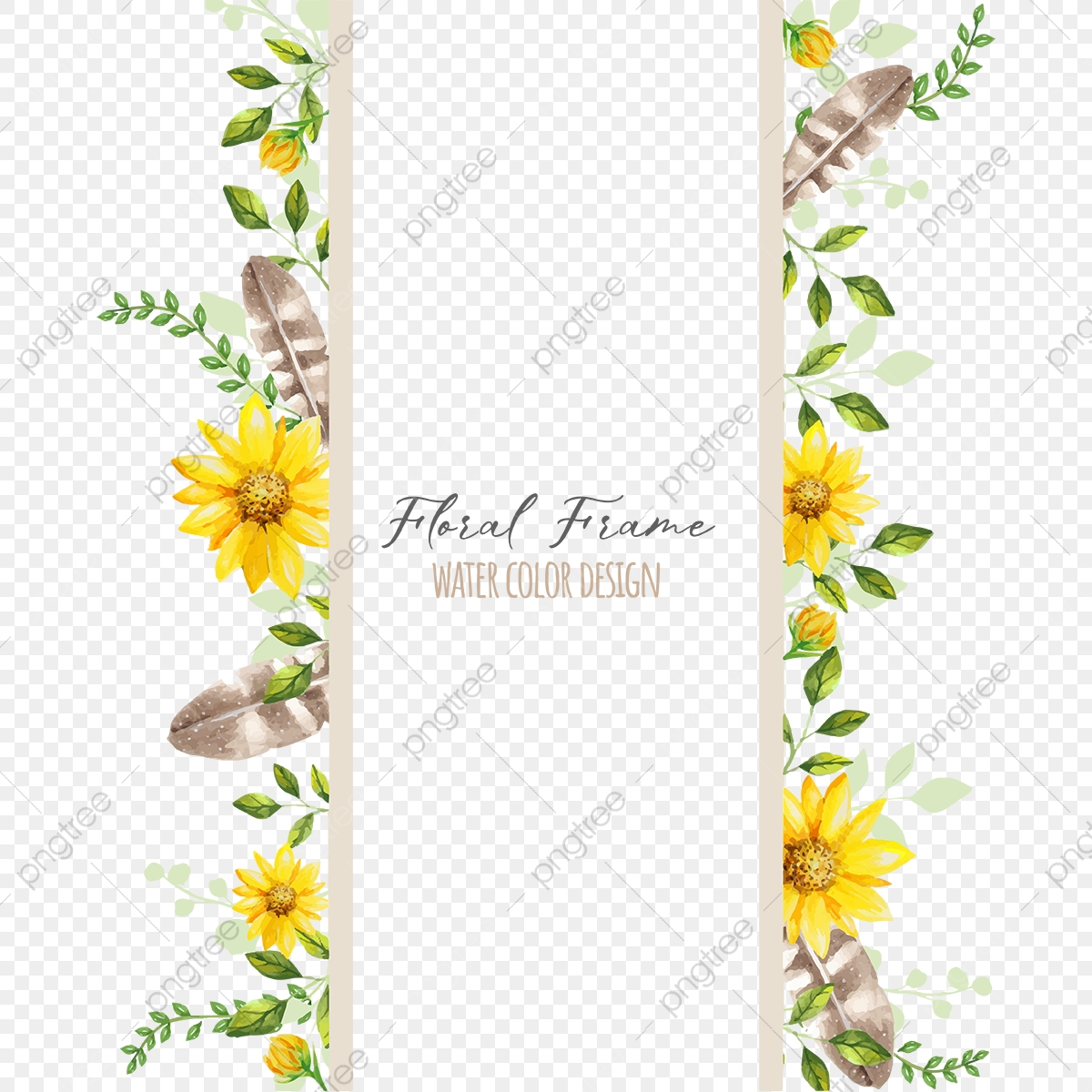 Beautiful Floral Frame, Water Color, Flower, Frame PNG and ...