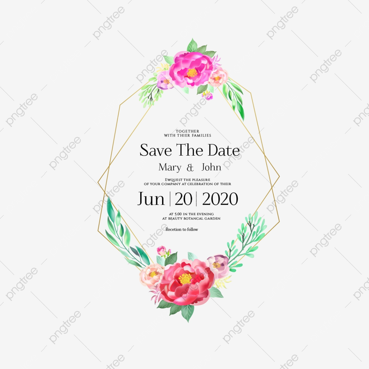 Beautiful Wedding Invitation Card With Golden Frame, Flower, Frame ...