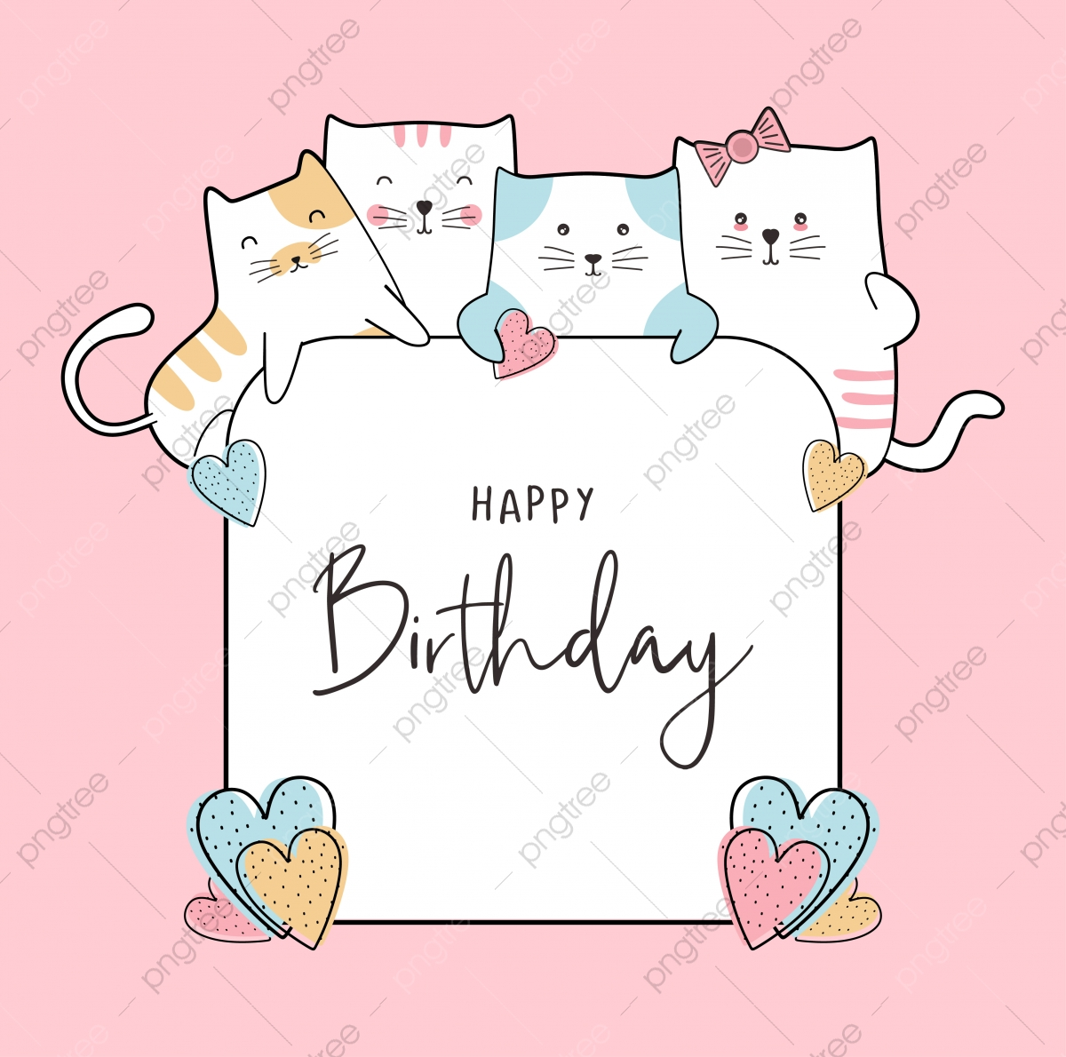 birthday celebration card design with cute baby cats