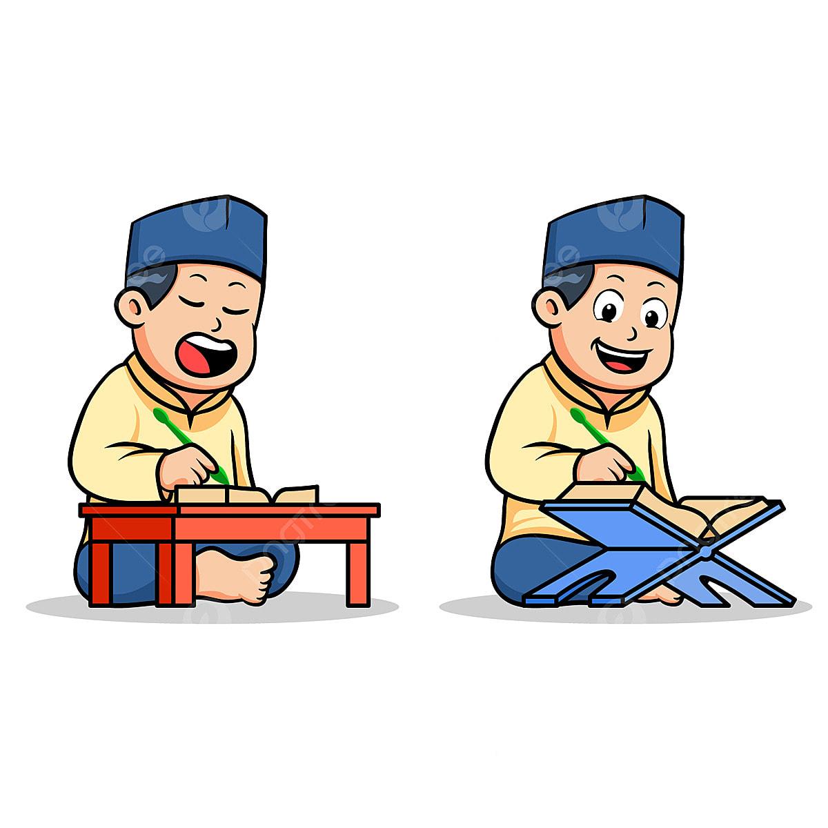 Budak Sekolah Islamic Budak Membaca Kitab Suci Baca Al