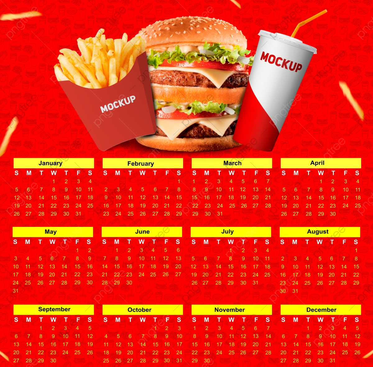 Calendar Fast Food Red And Yellow With Mockup Date Day Calendar 2020 Png Transparent Clipart Image And Psd File For Free Download