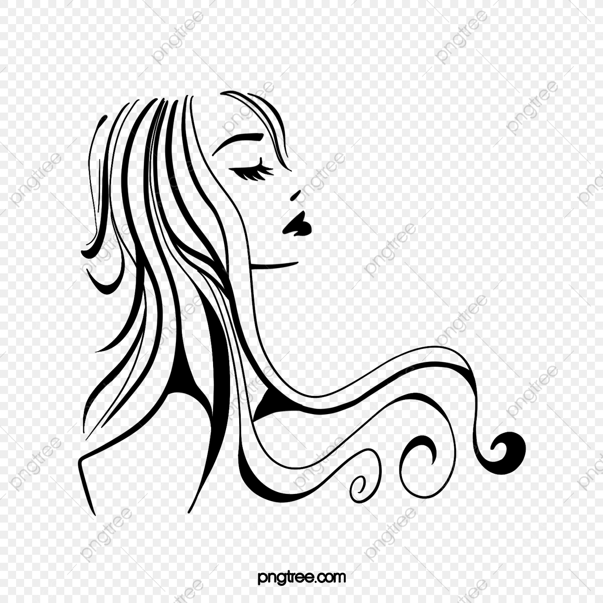 Cartoon Black Roll Long Hair Woman Side Face Illustration Black Curly Hair Long Hair Png Transparent Clipart Image And Psd File For Free Download
