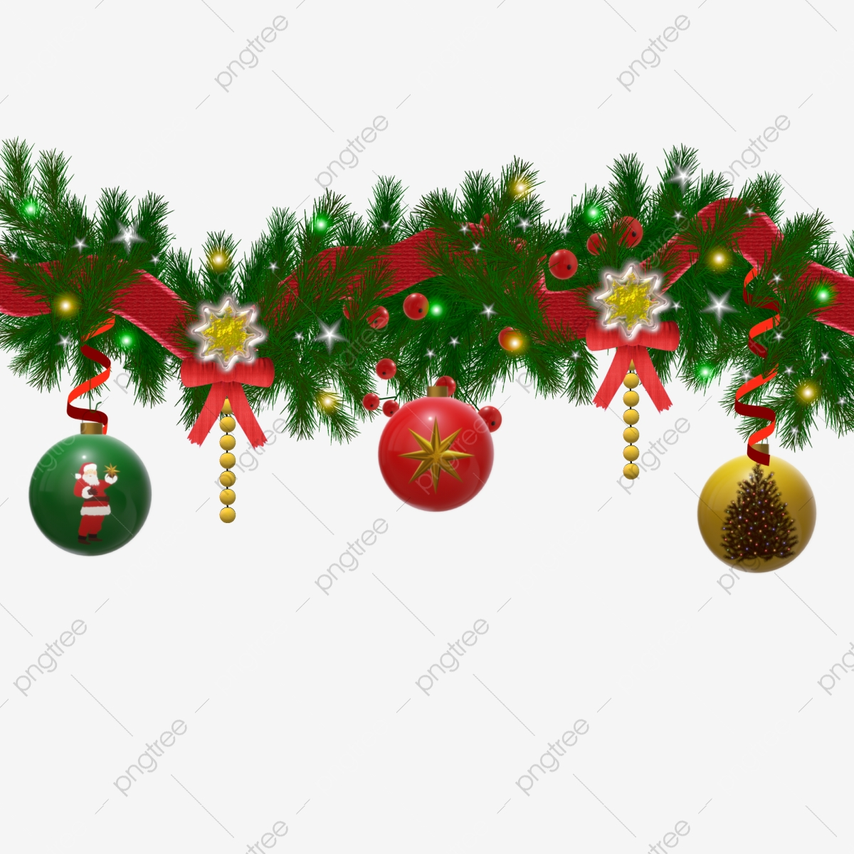 Christmas Decoration Pine Branches With Light Effect Garland Christmas Decoration Decorative Element Png And Vector With Transparent Background For Free Download