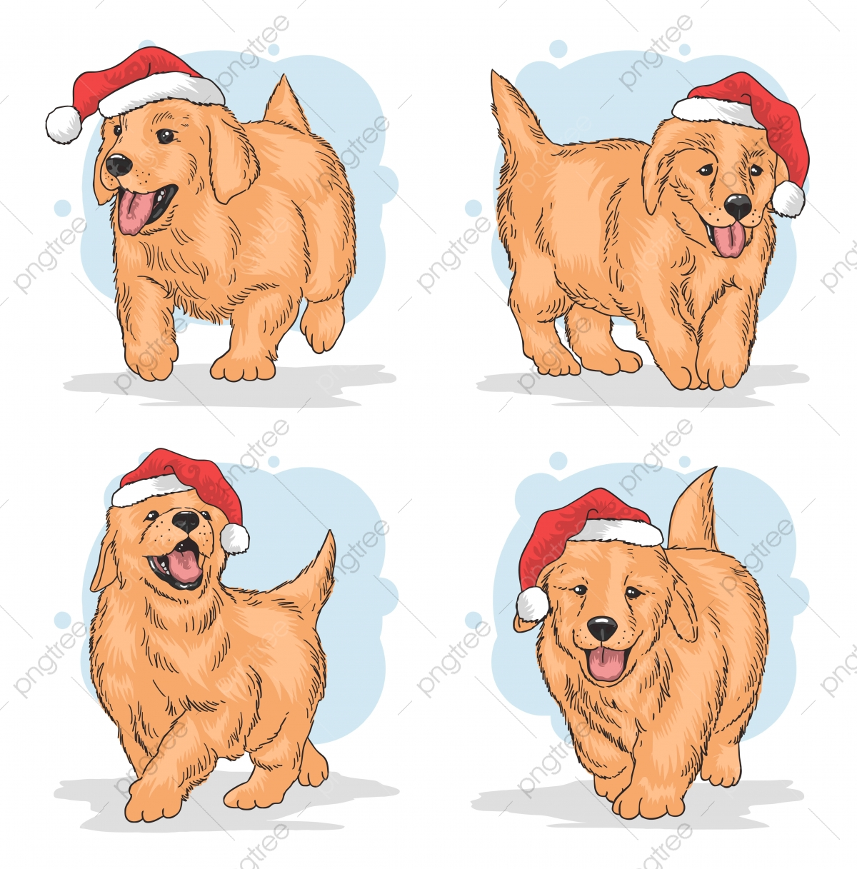 Christmas Puppy Claus Hat Vector Animal Art Background Png And Vector With Transparent Background For Free Download