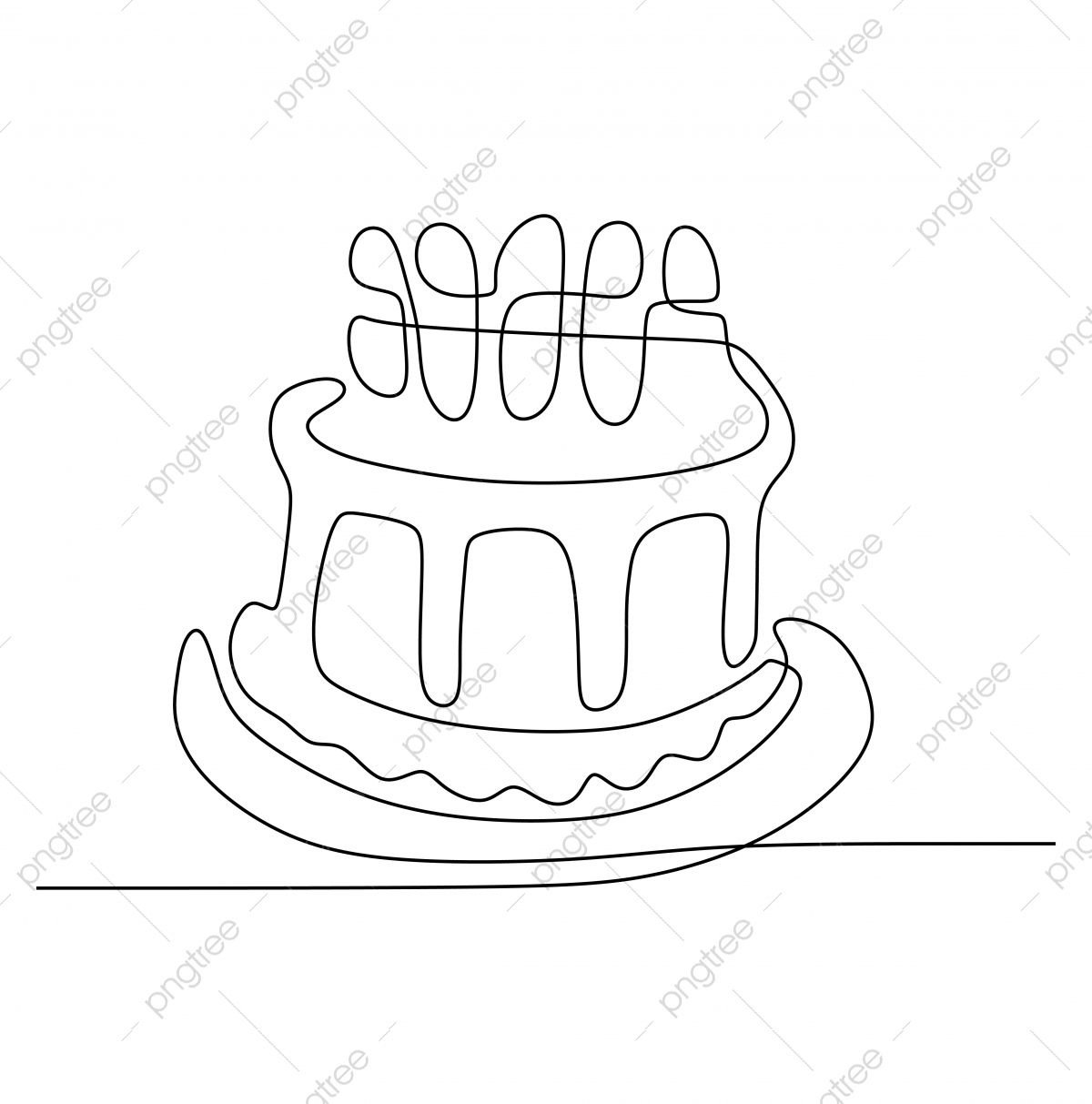 Outstanding Continuous Line Drawing Birthday Cake With Candle Symbol Of Funny Birthday Cards Online Eattedamsfinfo