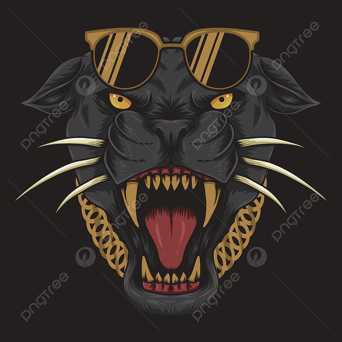 Illustration Vectorielle Cool Panthere Noire En Colere Animal
