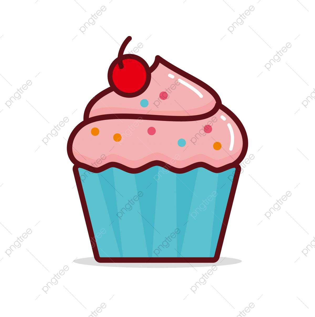 Illustration Vectorielle Cupcake Isolé Sur Fond Blanc