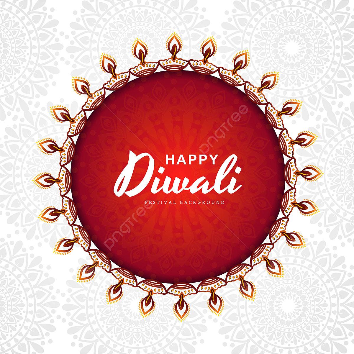 Decorative Diwali Diya Mandala Style White Background