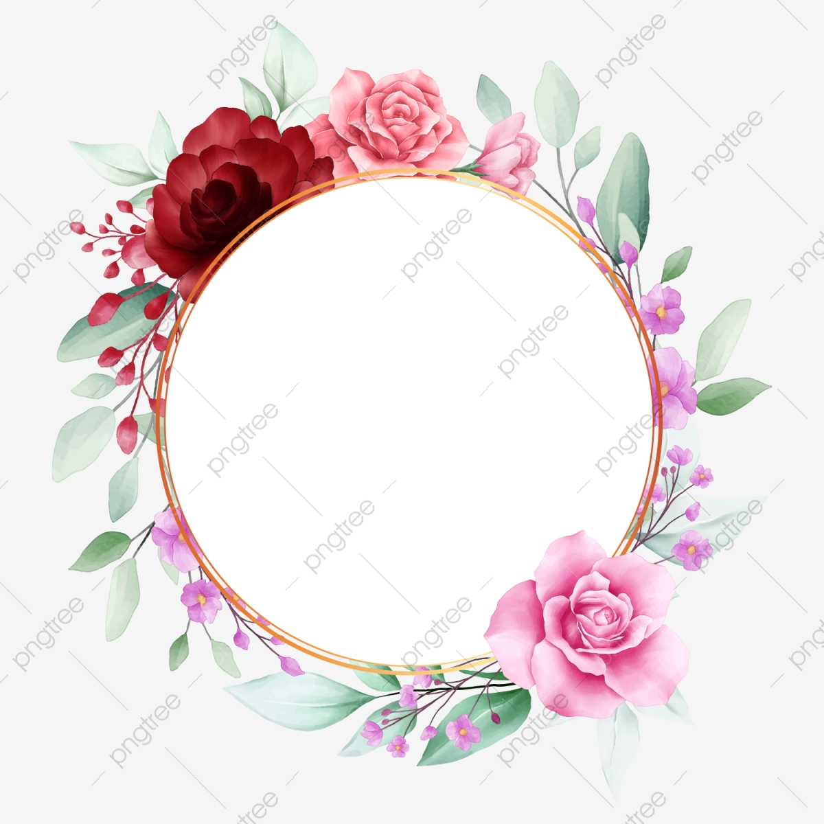 Elegant Circle Floral Frame With Watercolor Peonies Flowers