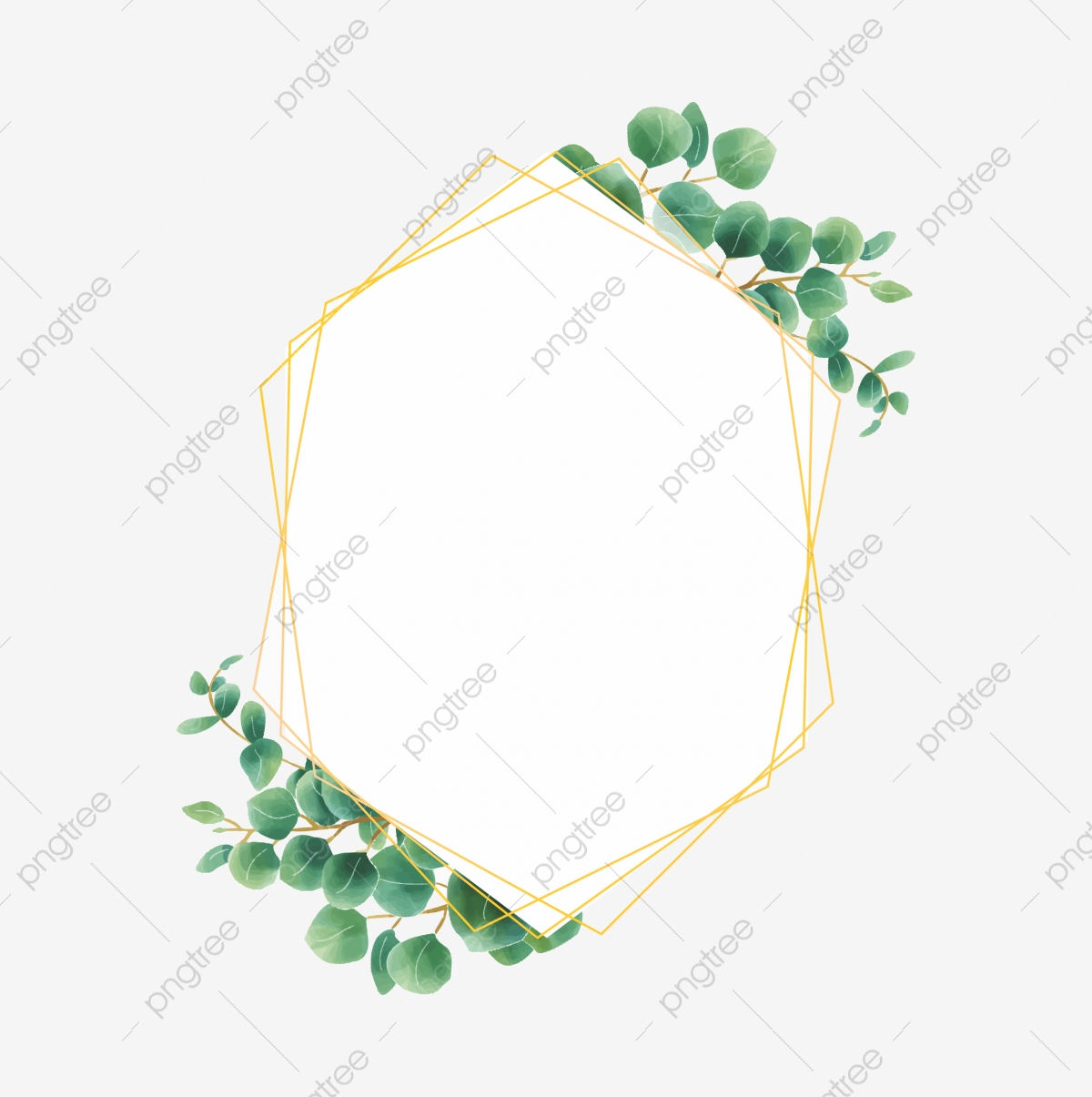 Eucalyptus Leaf Frame With Gold Watercolor Style Line, Eucalyptus ...
