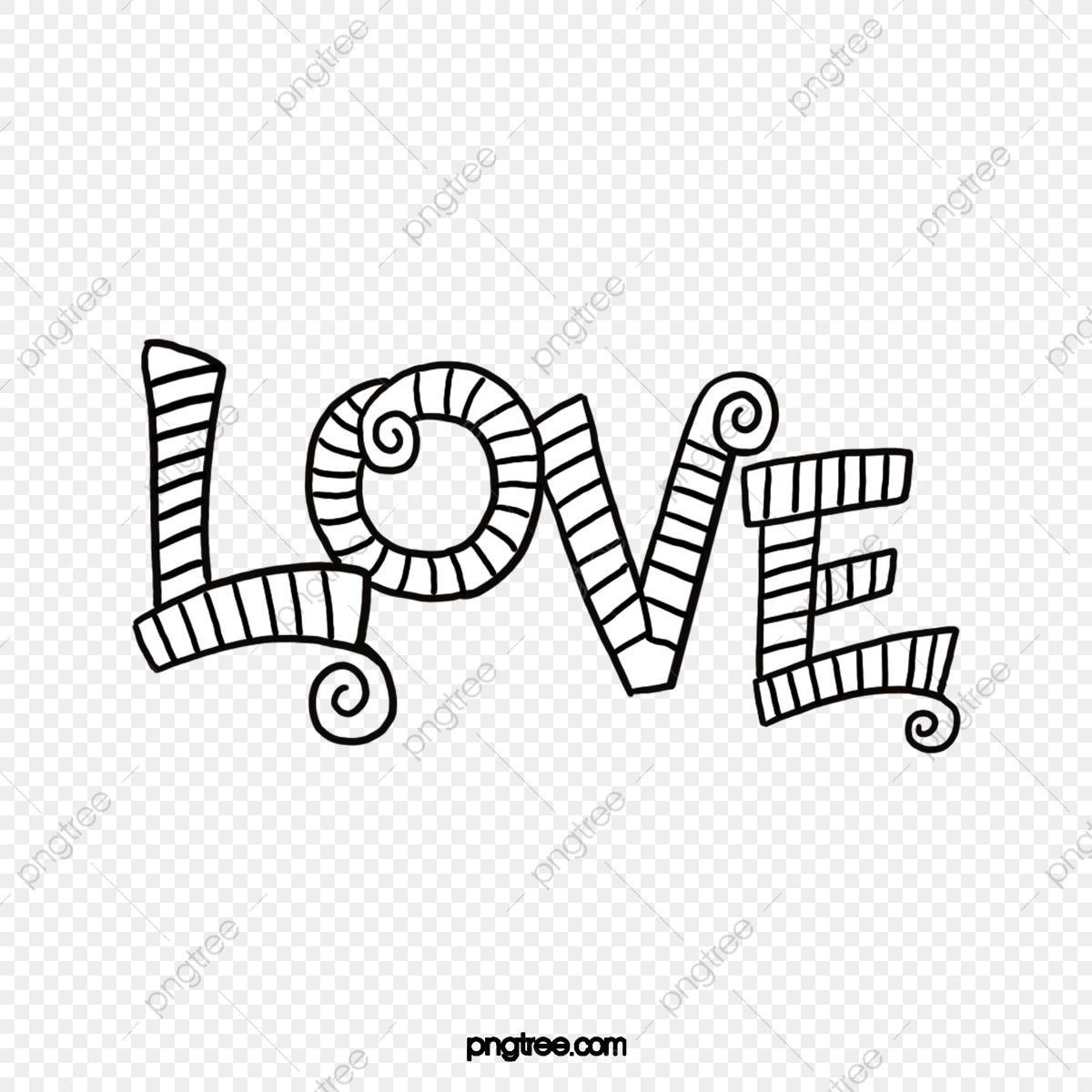 Hand Drawn Line Drawing Black And White English Love Letter