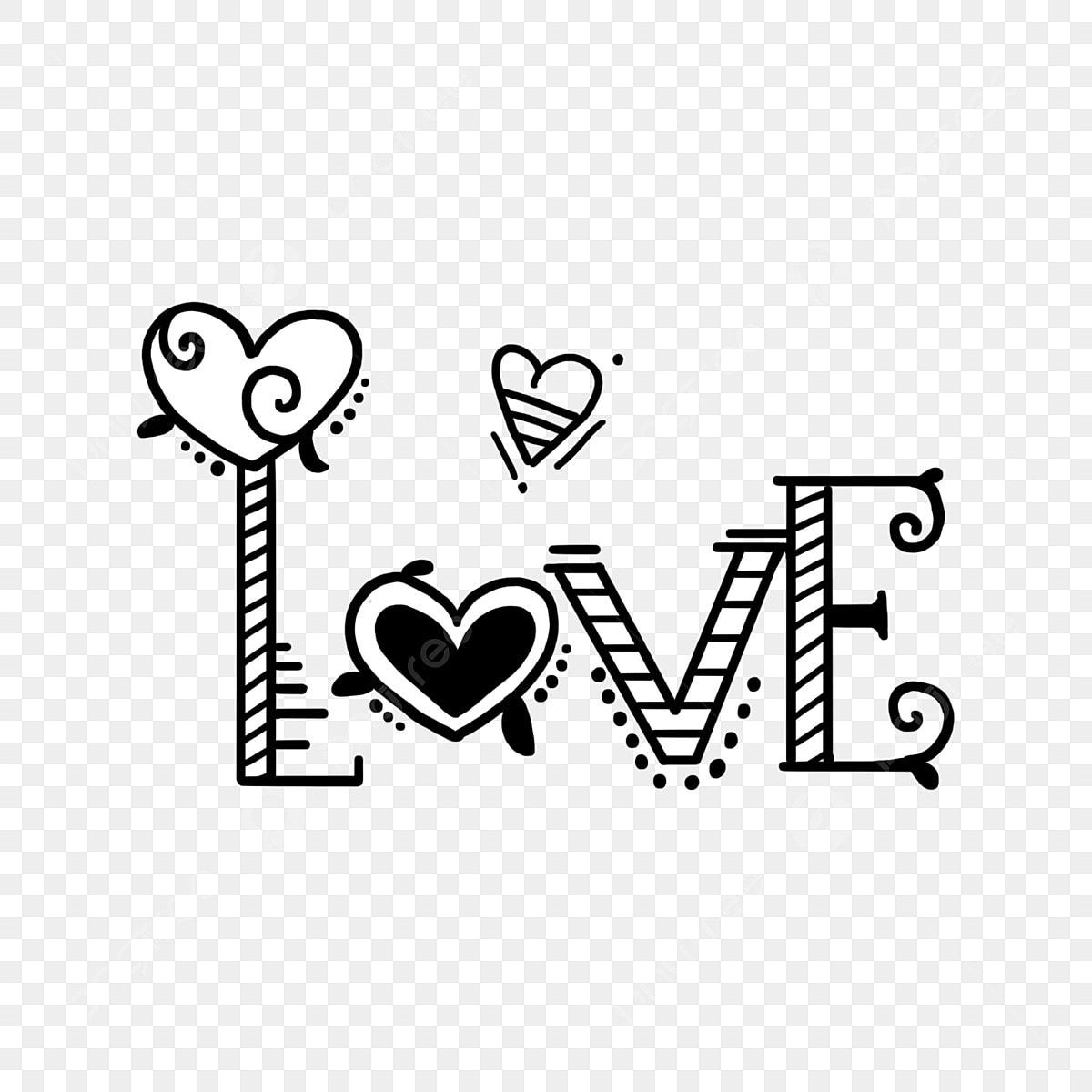 ومن ناحية رسم خط أبيض وأسود عنصر رسالة حب الإنجليزية رسمت باليد