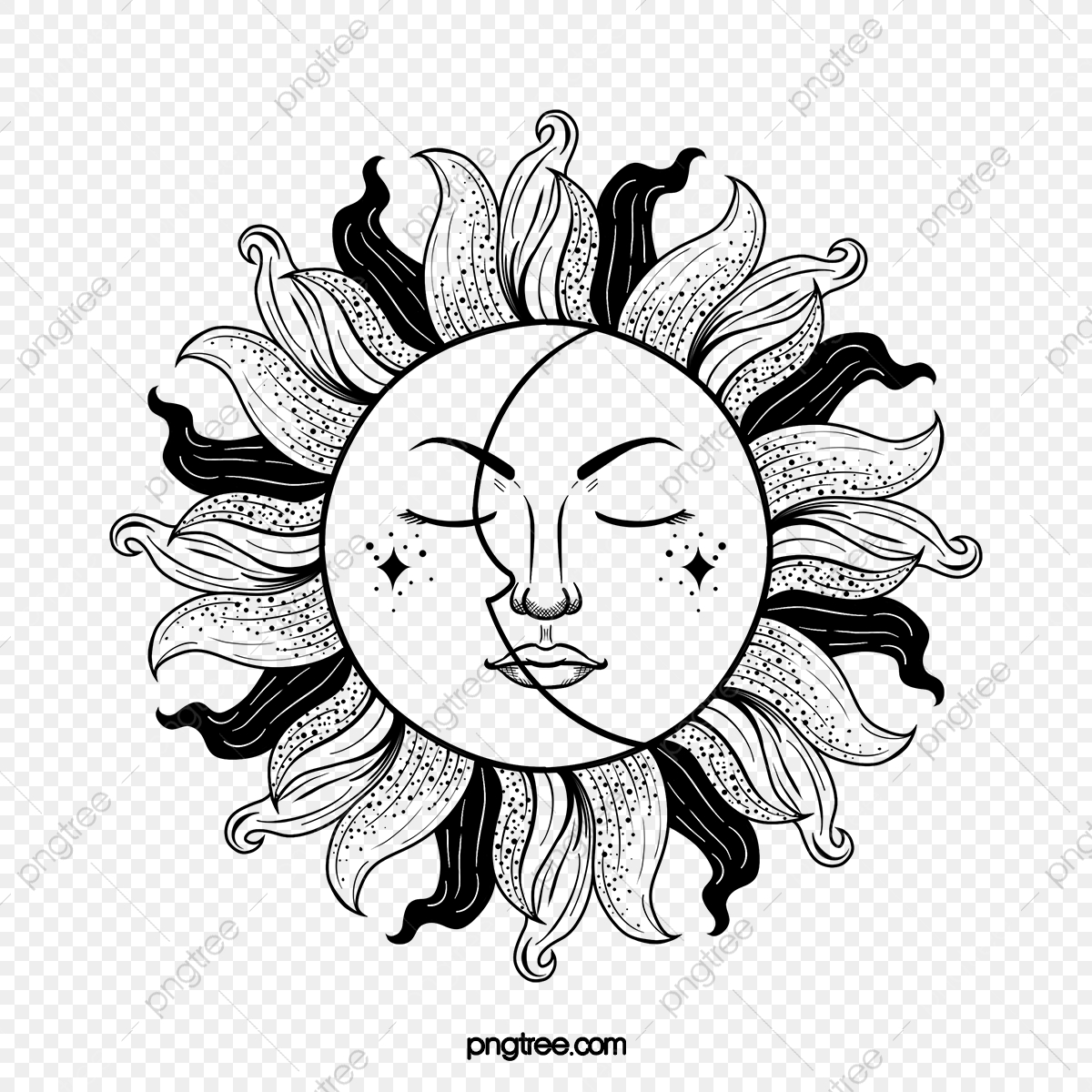 Hand Drawn Tattoo Black White Sun Tattoo Sunlight Moon Png