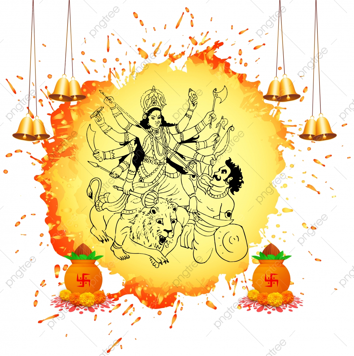 Happy Durga Puja Festival India Holiday Background Vector