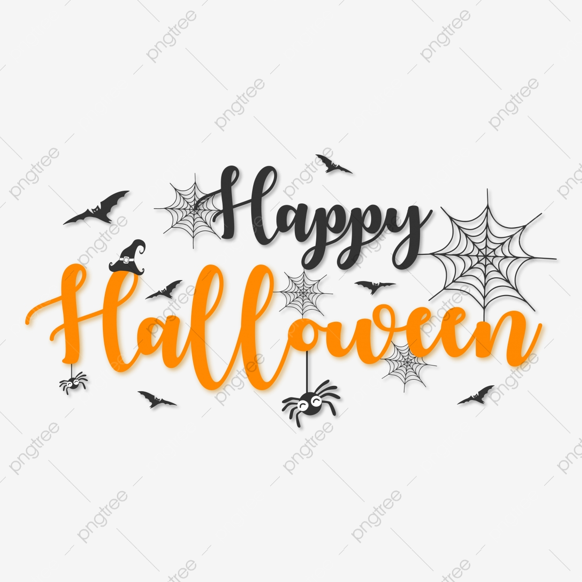 Happy Halloween Lettering Typography With Halloween Elements Typography Treats Trick Png And Vector With Transparent Background For Free Download