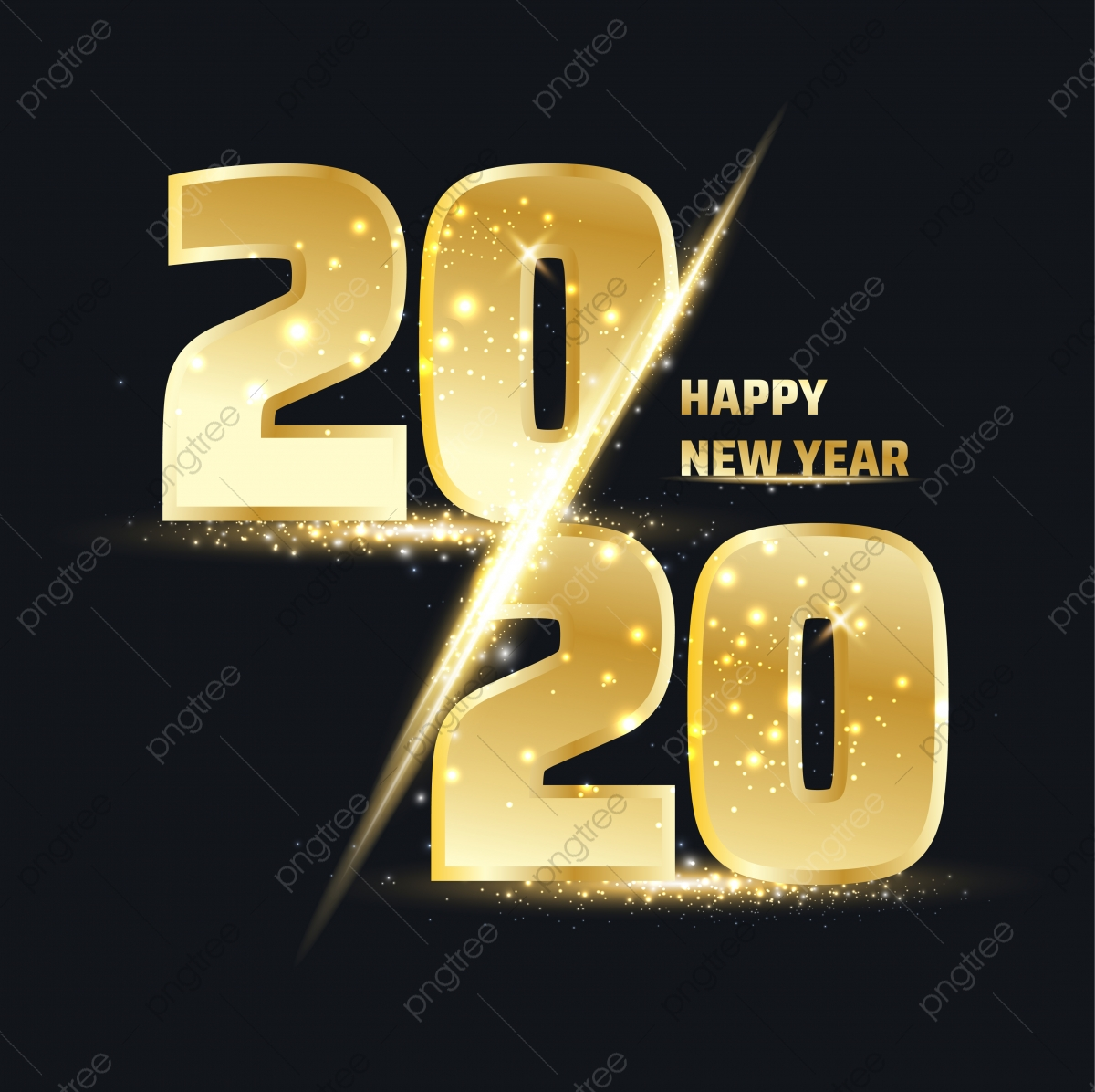 Happy New Year 2020 Gold Number Happy New Year Png And