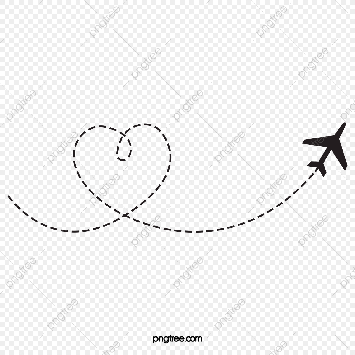Heart Shaped Airplane Route Airplane Clipart Black Heart Shaped
