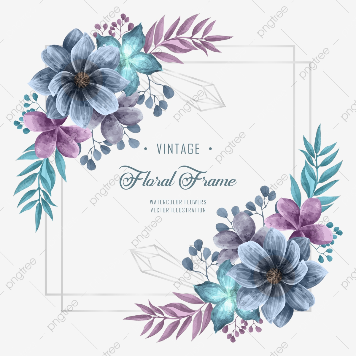 Lovely Wedding Invitation With Blue And Purple Watercolor