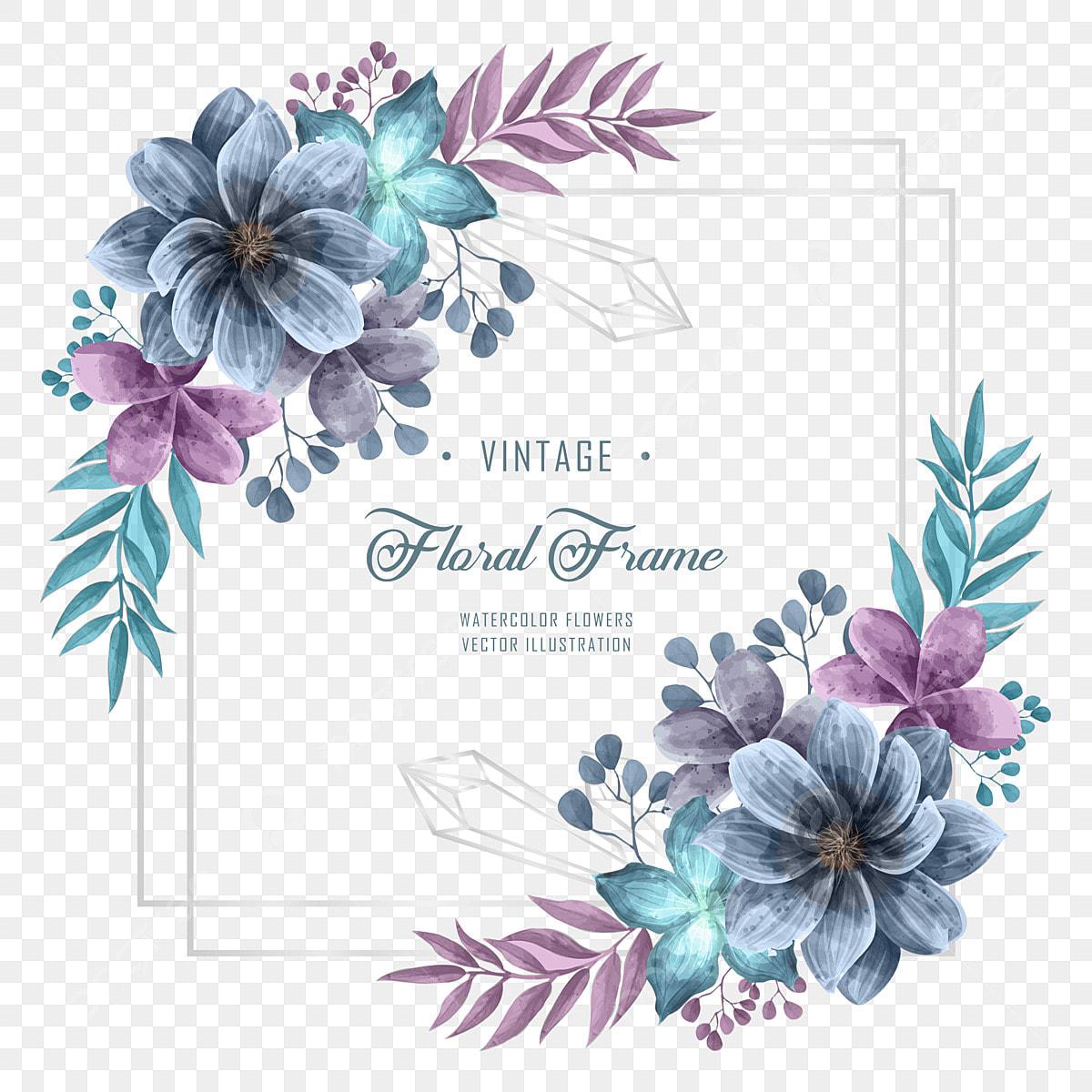 Purple Flower Wedding: Wedding Invitation With Blue And Purple Watercolor Flower