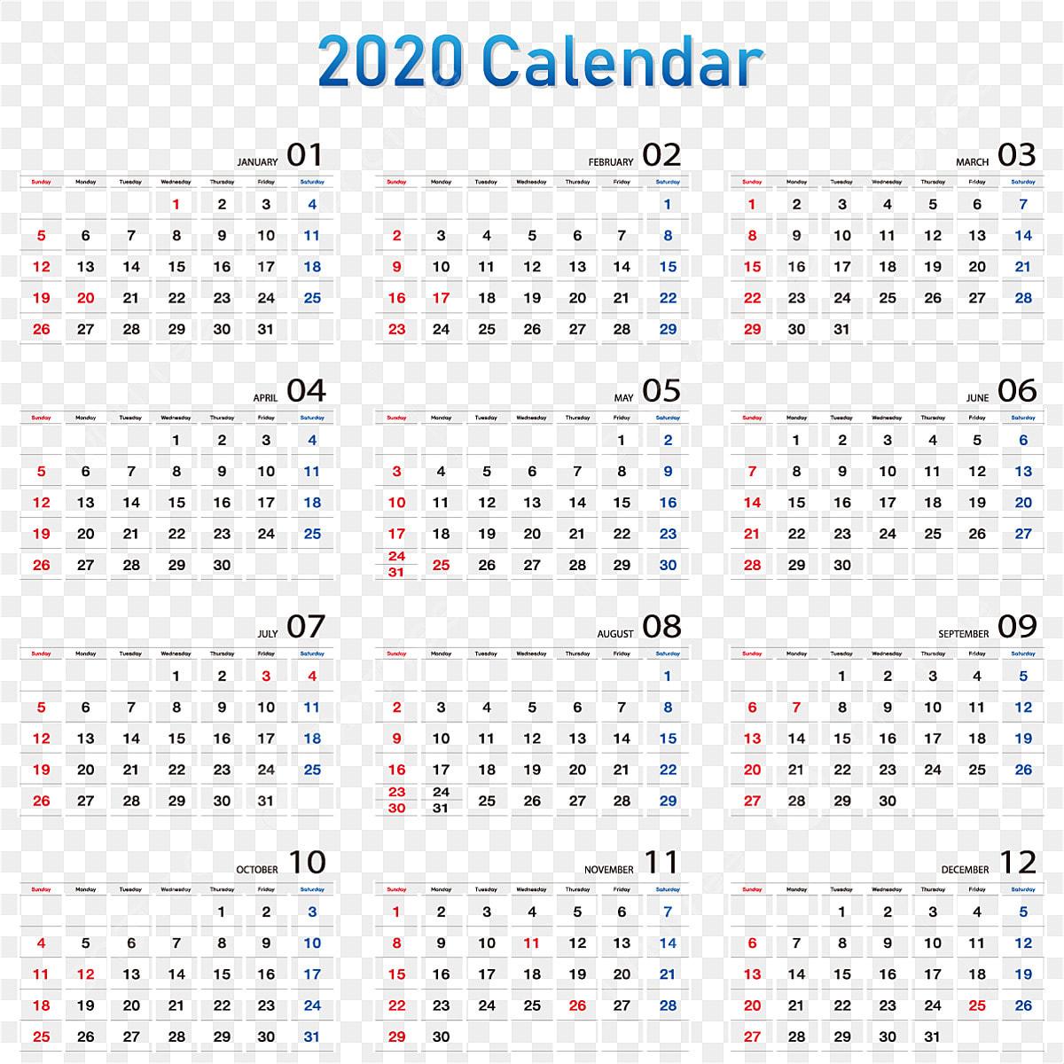 Modify Calendar2020 Vector, Calendar2020, Date, Calendar