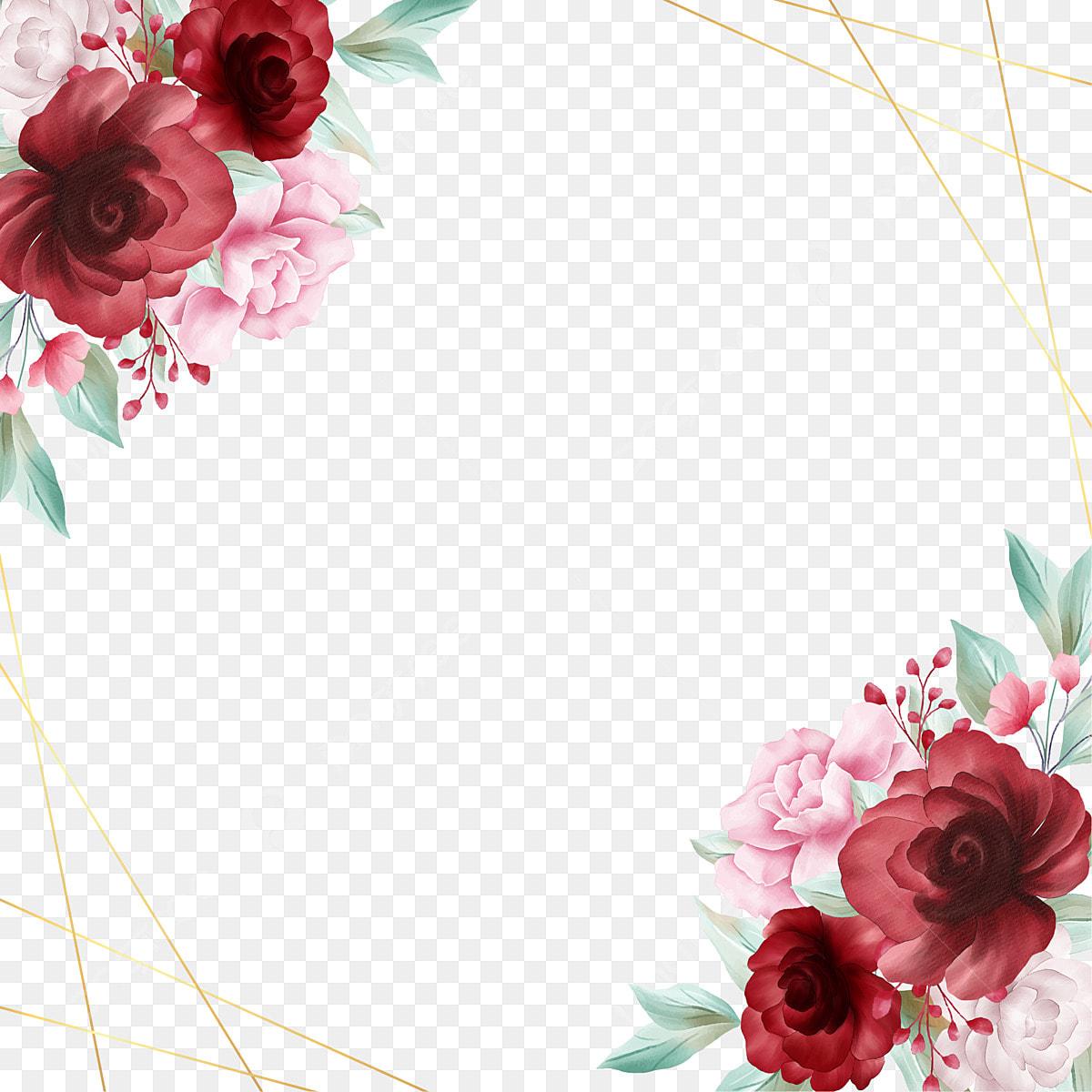 Romantic Watercolor Floral Border With Golden Line Decoration