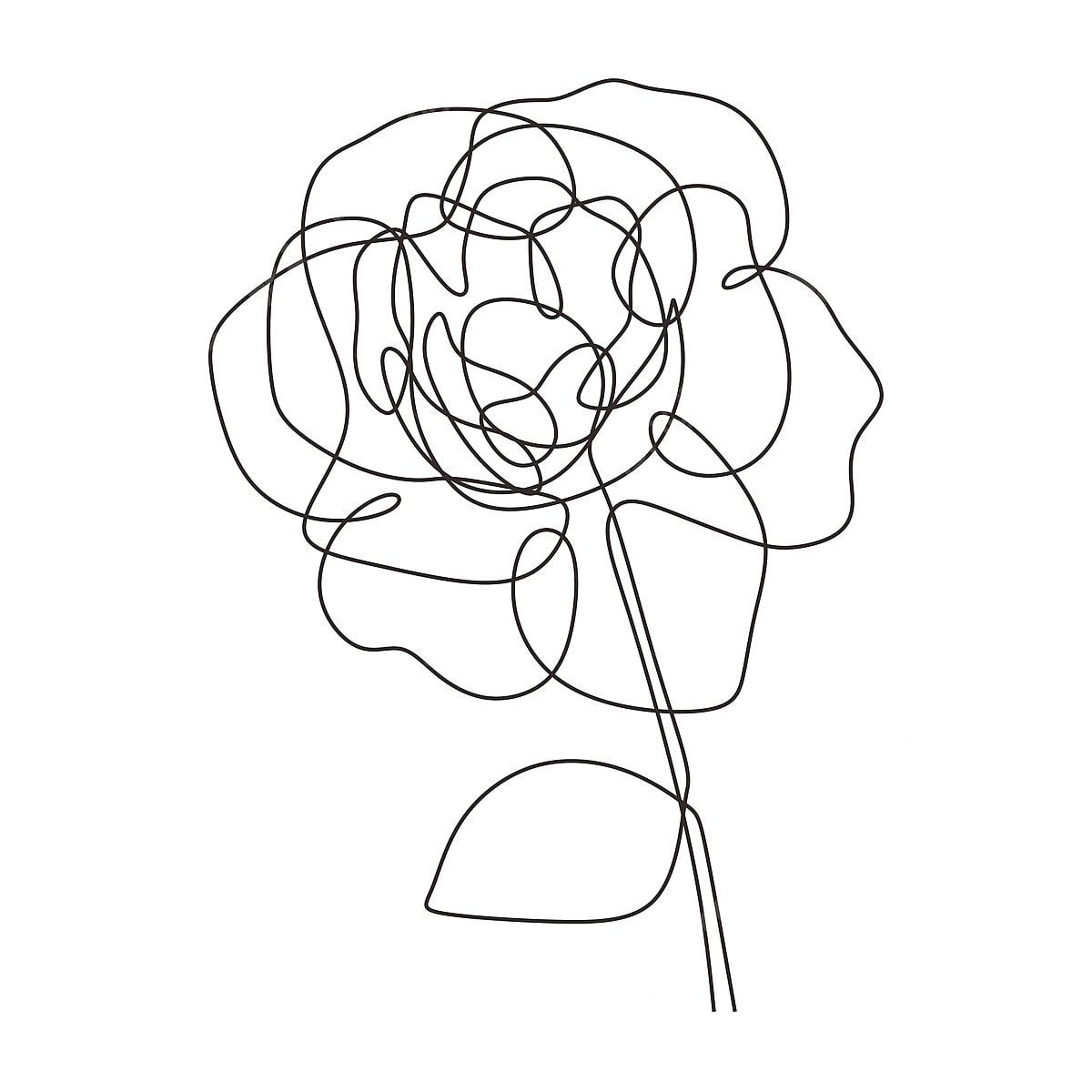 Fleur Rose One Line Vector Dessin Minimaliste Style Simplicite
