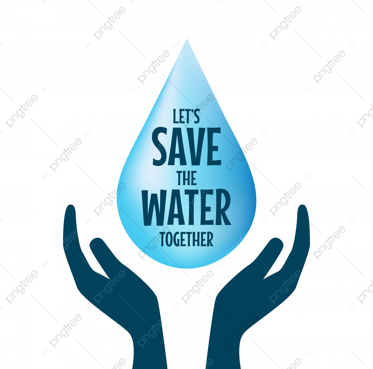 Save The Water Hands Holding Drop Save Water Concept Of