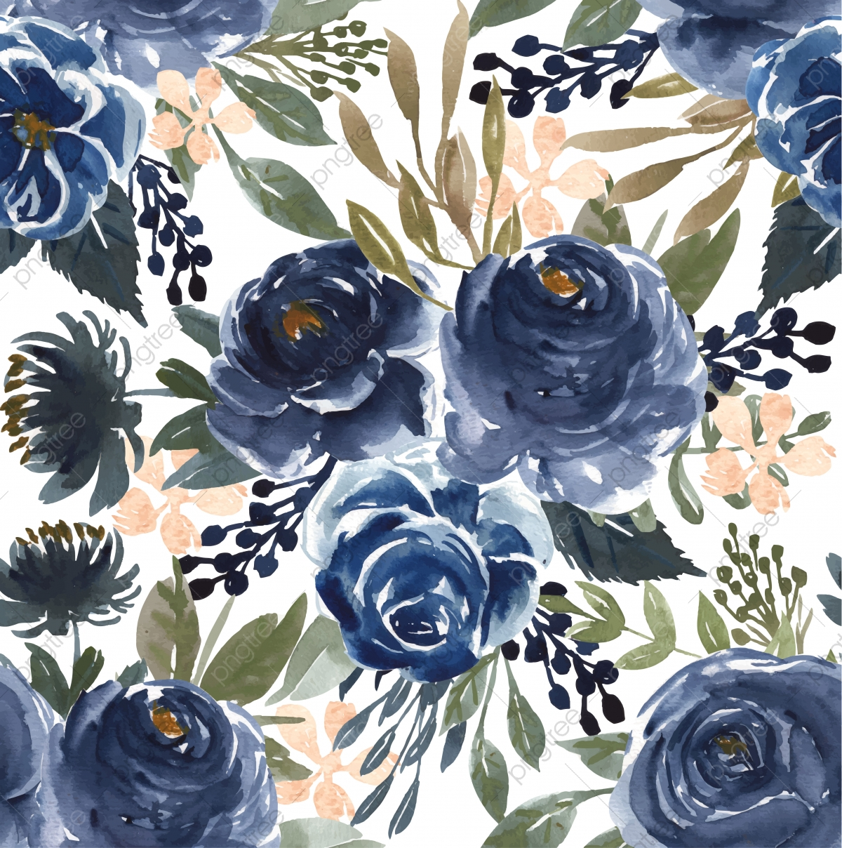Seamless Pattern Watercolor Flower Navy Blue Seamless Pattern