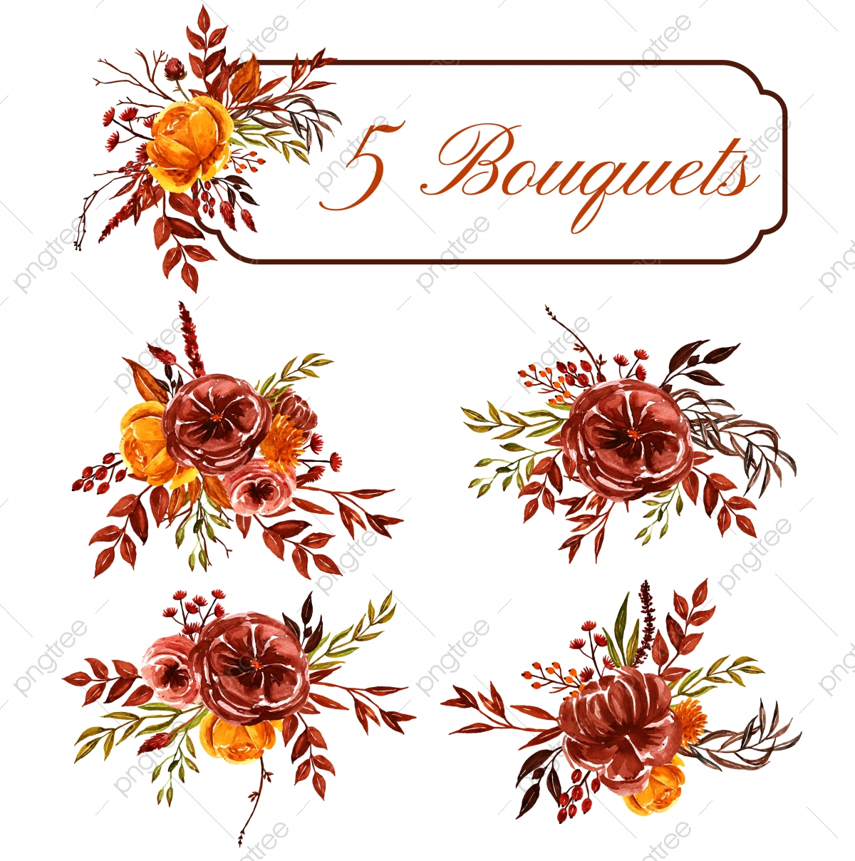 Set Of Watercolor Fall Floral Arrangement Decoration