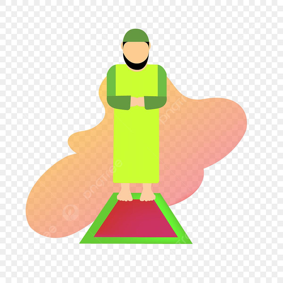 Shalat Berdoa Muslim Seni Ilustrasi Watak PNG Dan Vektor