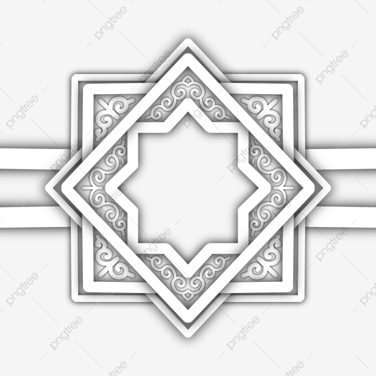 Simple 3d Paper Invitation Frame Empty Space Ornament Shading