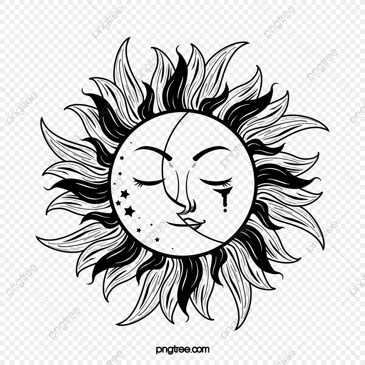 Sun Moon Black White Tattoo Tattoo Sunlight Moon Png