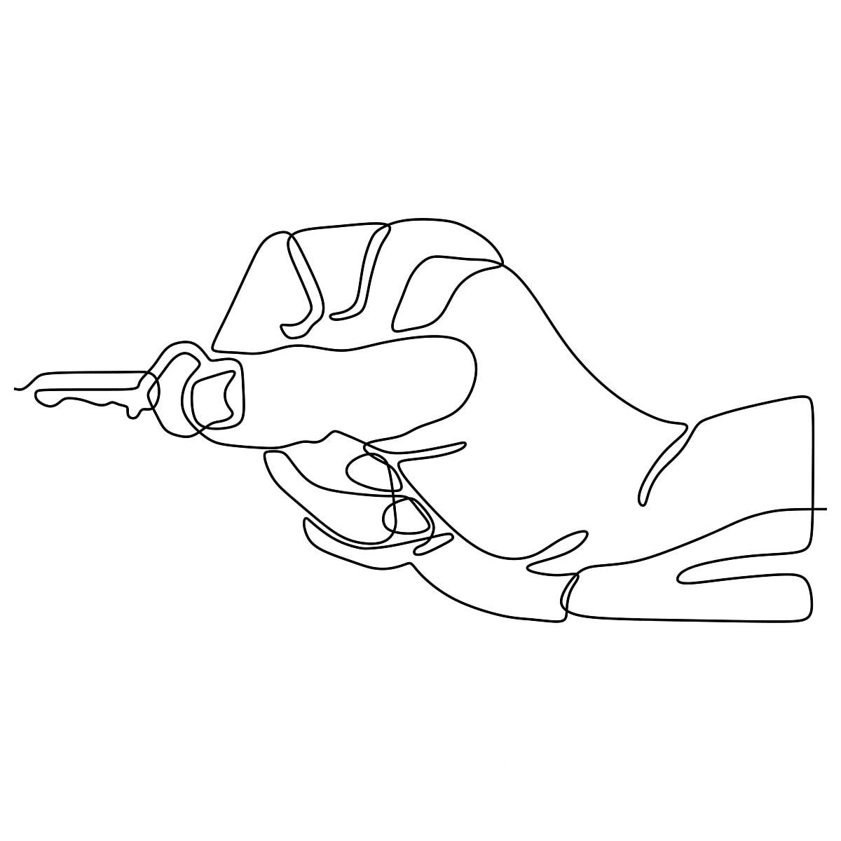 Le Chiavi Del Disegno.La Mano Tiene Le Chiavi Del Segno E Del Simbolo Dell Illustrazione