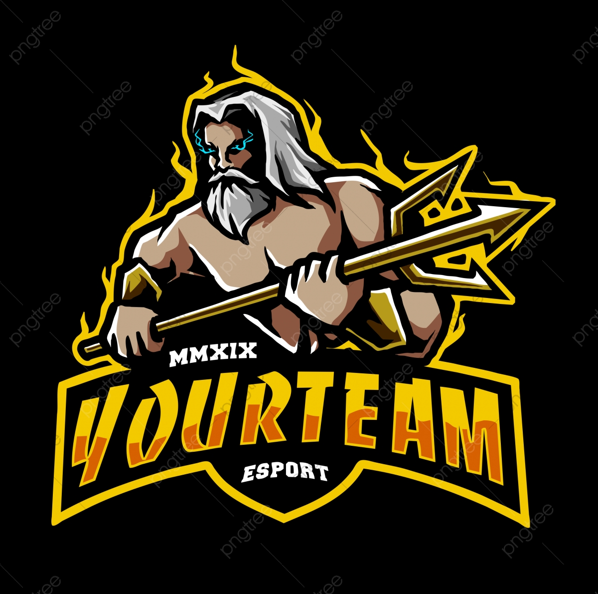 Vector Of Poseidon With Trident Weapon Suitable For Logo Or