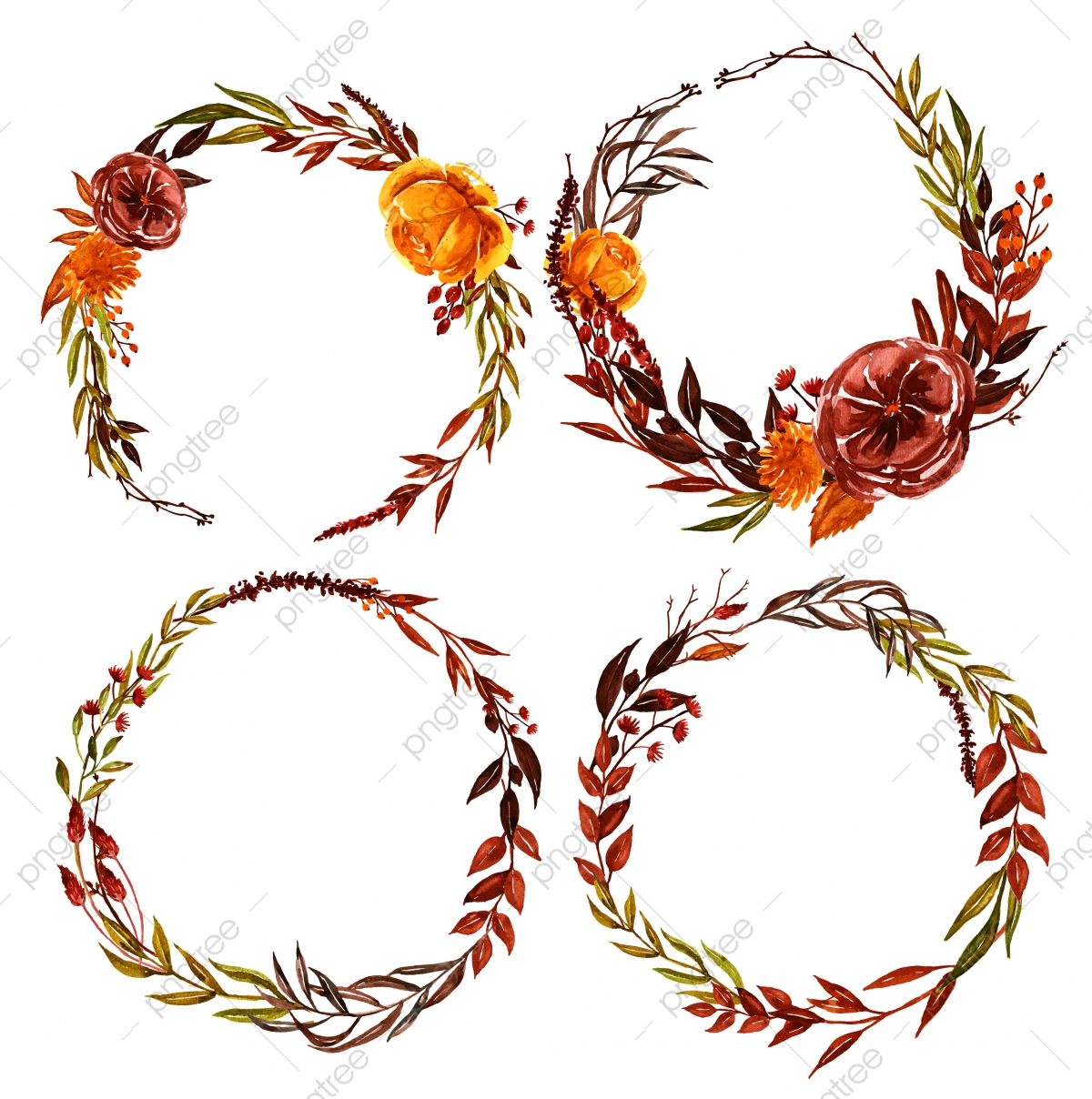 Watercolor Fall Floral Floral And Leaf Wreath Fall Nature