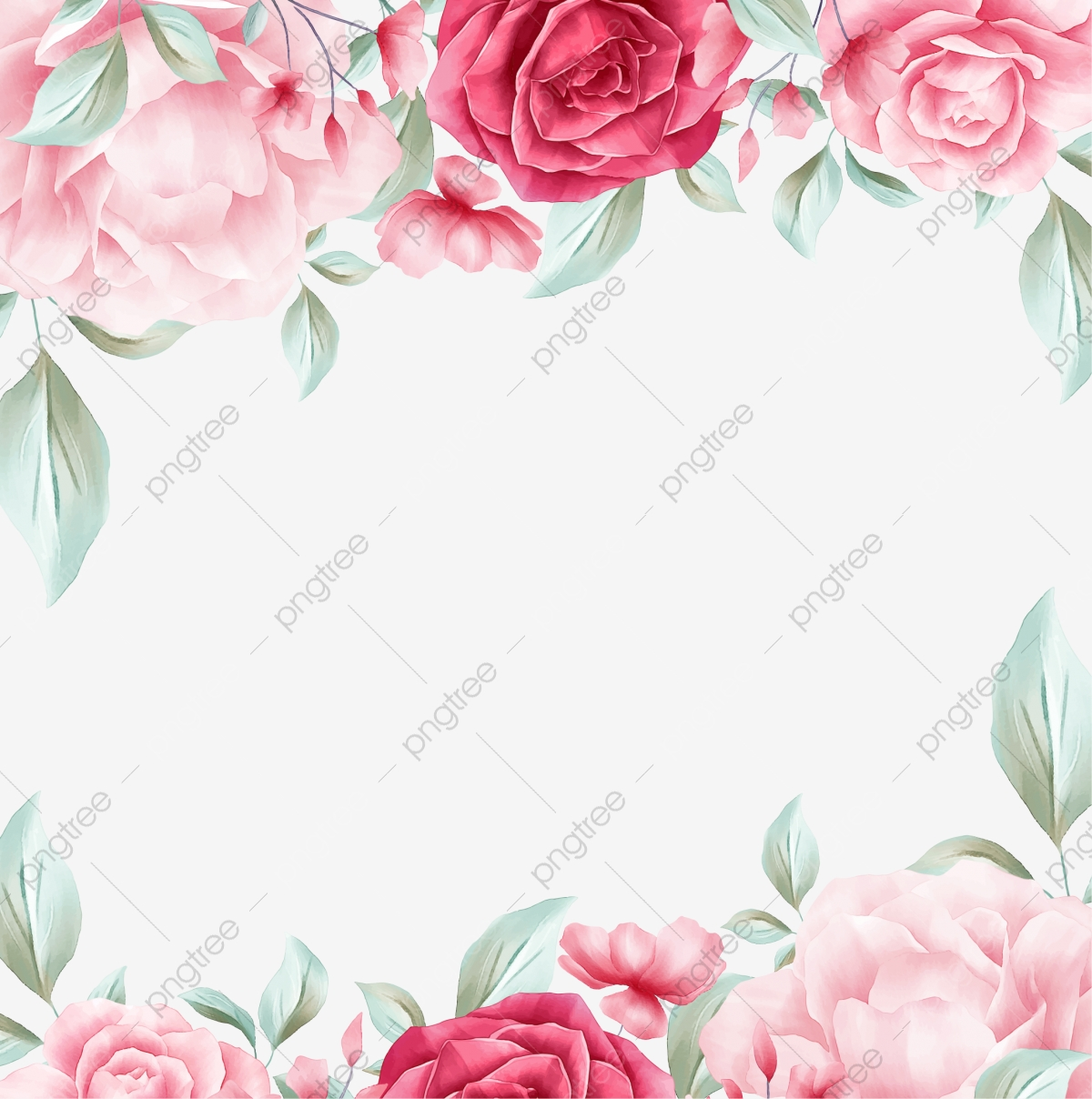 Watercolor Floral Border Of Red And Creamy Blush Roses Flowers