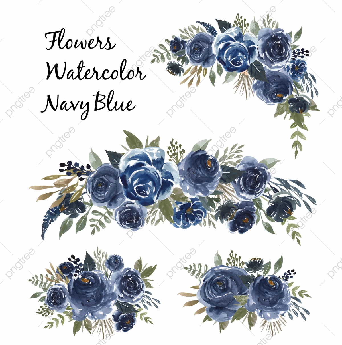 Watercolor Set Of Flower Bouquet Navy Blue Floral Watercolor
