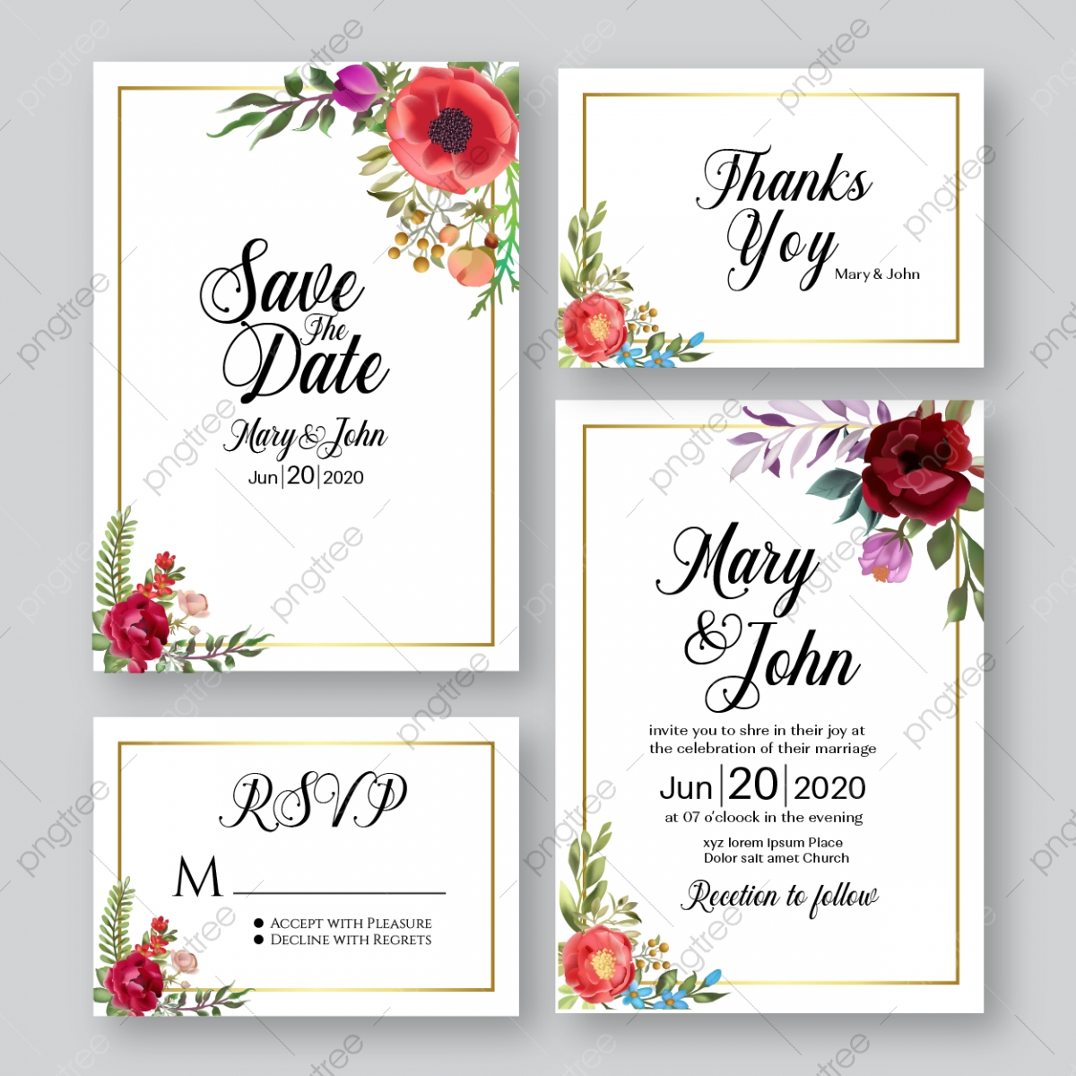 Watercolor Wedding Invitation Card Template Hand Ormament