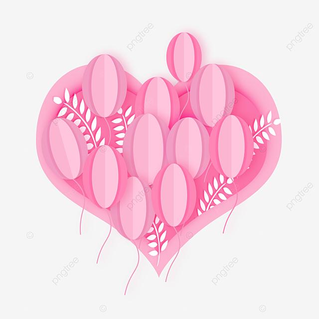pink love valentine paper cut elements