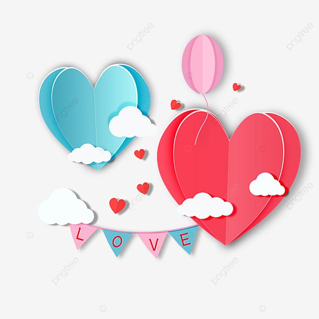 romantic valentine s day love paper cut elements