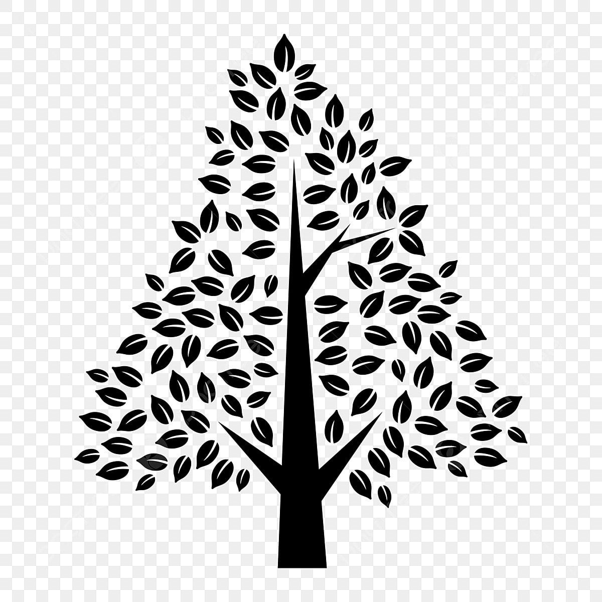 Siluet Hiasan Clipart Pokok Hitam