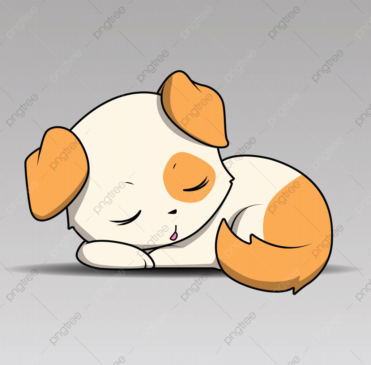 Cute Cartoon Dog Puppy Sleep For Design Element Cartoon Dog Adorable Png And Vector With Transparent Background For Free Download