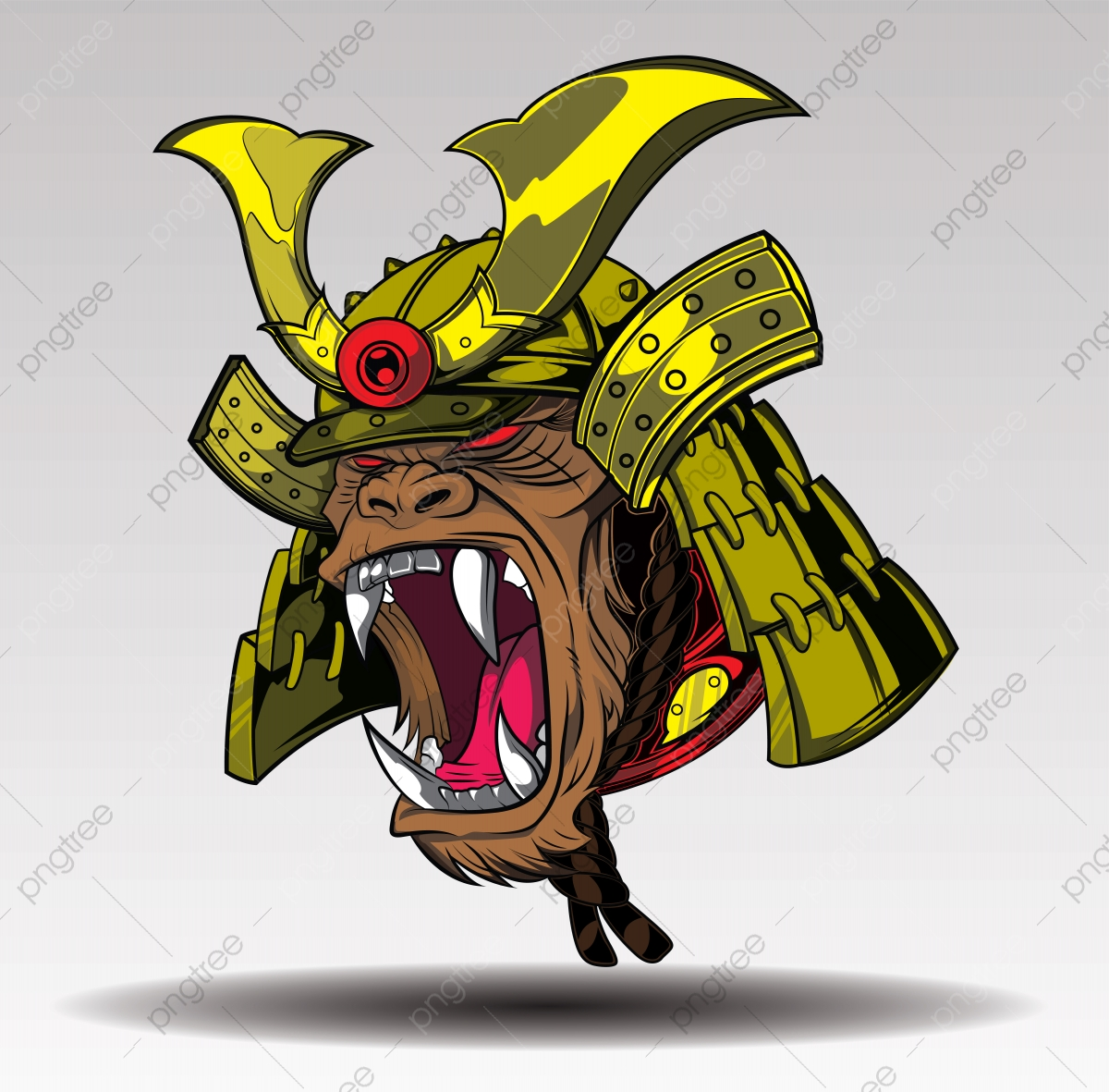 Fierce Gorilla Samurai Tattoo Concept Ninja Clipart Samurai Abstract Png And Vector With Transparent Background For Free Download