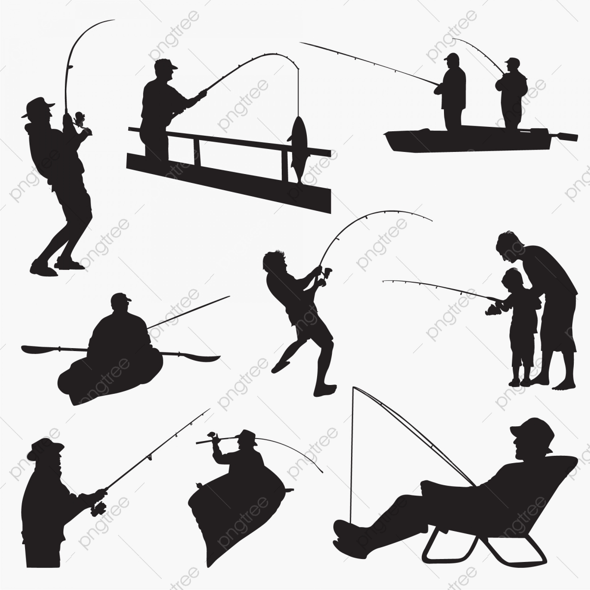 Fishing Man Silhouettes Boat Fauna Fish Png And Vector With Transparent Background For Free Download