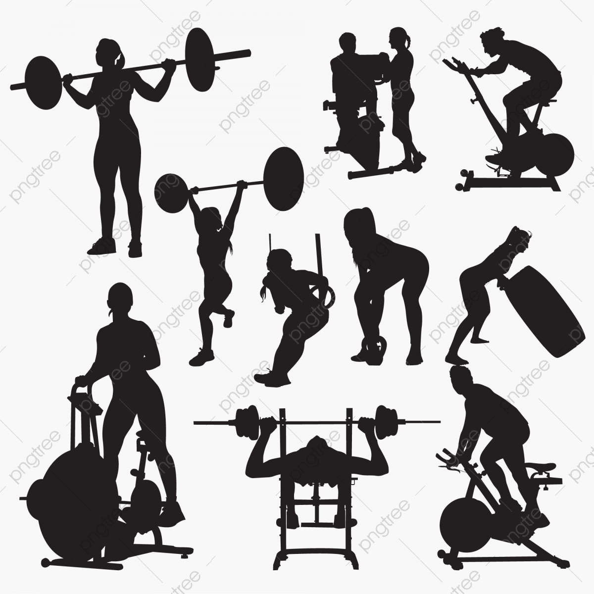 Fitness Silhouettes Aerobic Body Clip Art Png And Vector With Transparent Background For Free Download