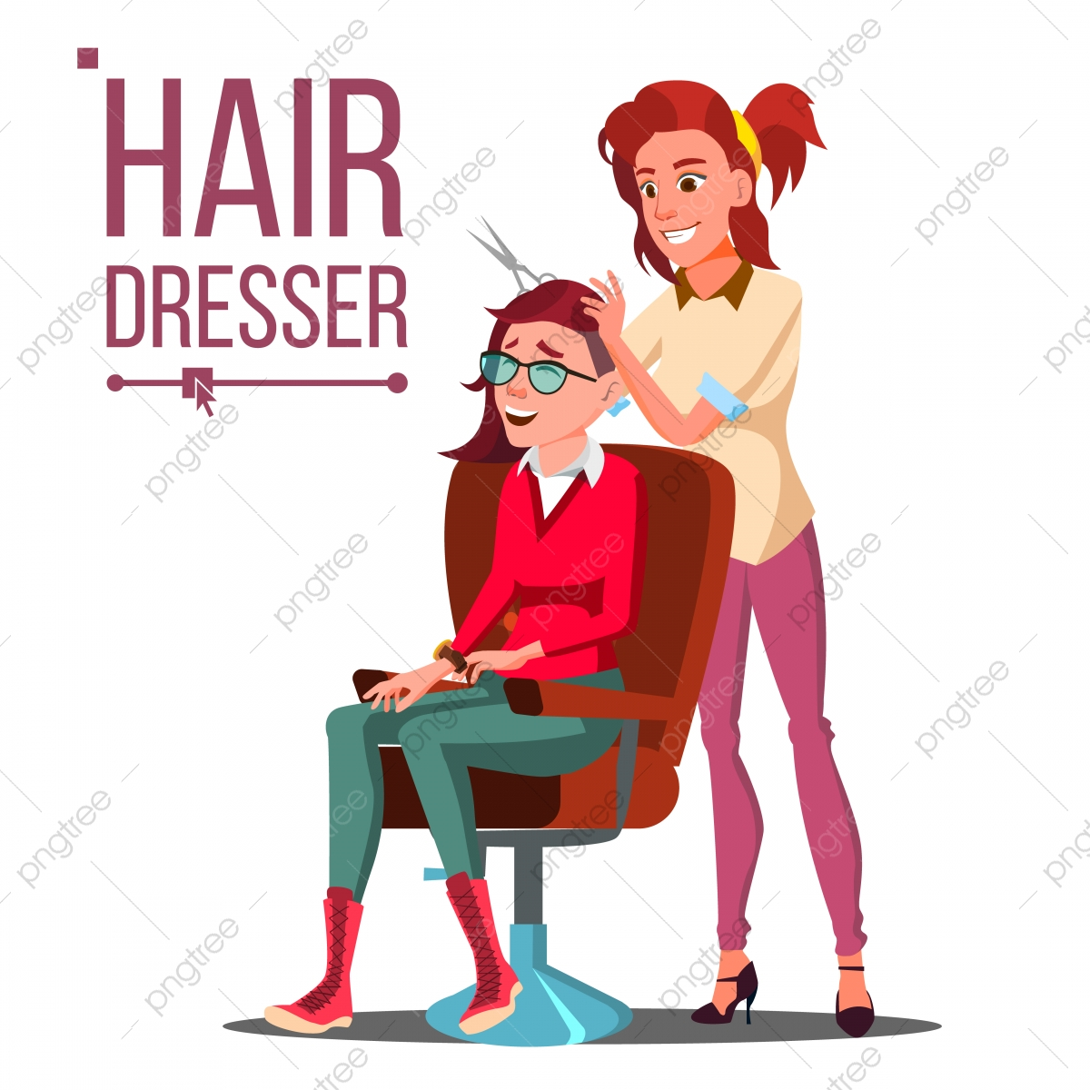 Hairdresser And Woman Vector Beauty Salon Hairbrush Haircut Styling Isolated Flat Cartoon Illustration Concept Decorative Element Png And Vector With Transparent Background For Free Download